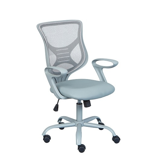 Coltene Home Office Chair In Grey PU And Mesh With Castors