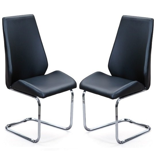 Colton Dining Chair In Black Faux Leather In A Pair