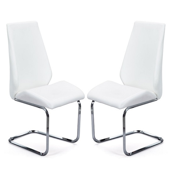 Colton Dining Chair In White Faux Leather In A Pair