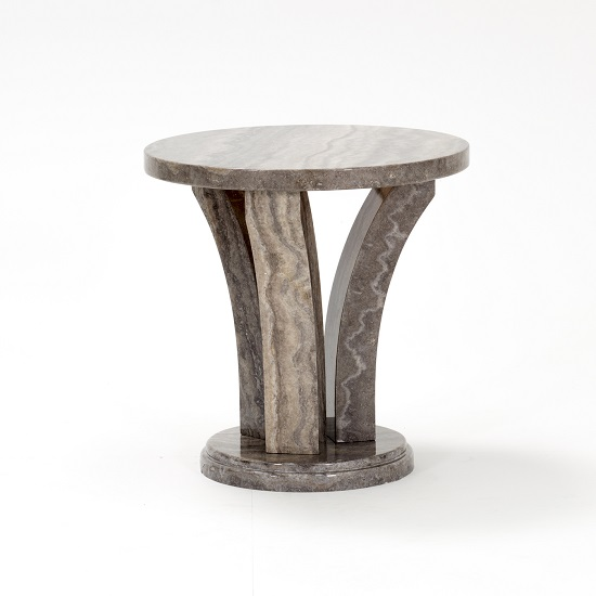 Colton Marble End Table Round In Pearl Grey