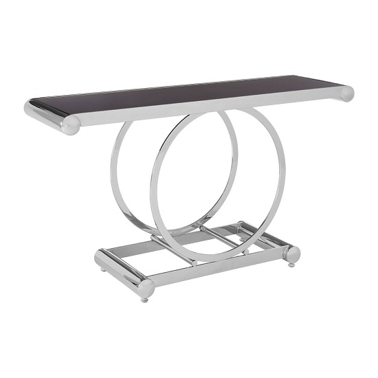 Columbus Glass Console Table In Black With Polished Steel Frame