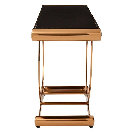Columbus Glass Console Table In Black With Rose Gold Frame_2
