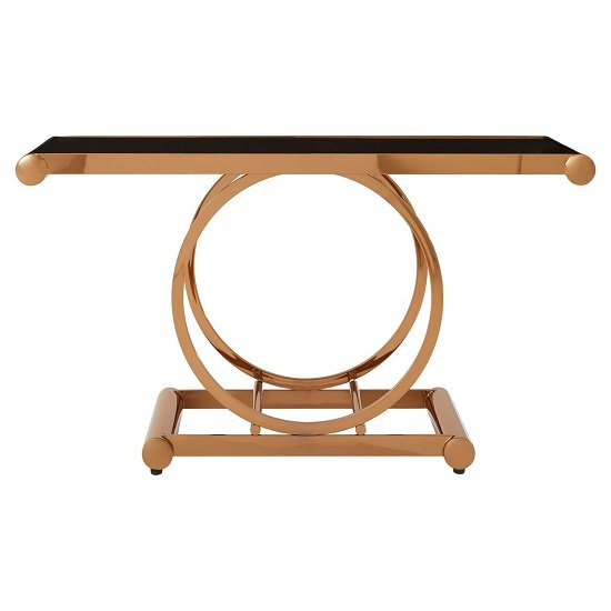 Columbus Glass Console Table In Black With Rose Gold Frame_3
