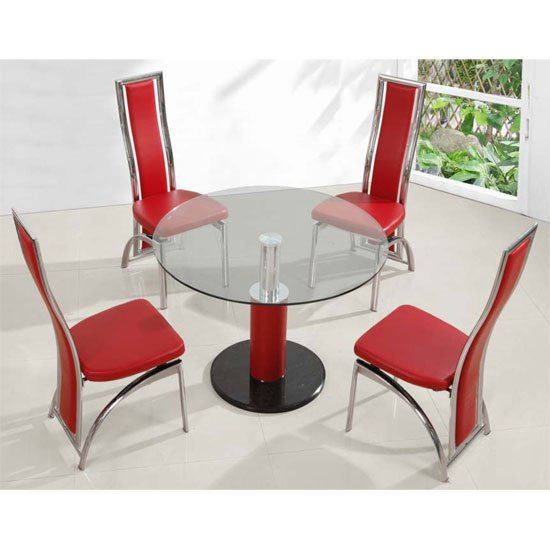 Coma Round Dining Table Small In Clear Glass With Red Pillar