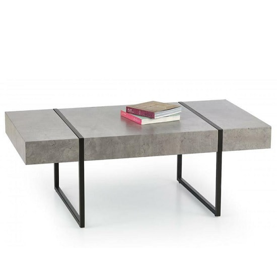 Comet Coffee Table In Stone Effect With Black Metal Legs