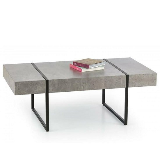 Black Steel Coffee Table Legs: Comet Coffee Table In Stone Effect With Black Metal Legs
