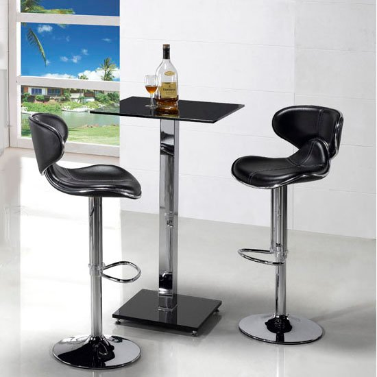 Veron Square Glass Bar Table In Black With 2 Cindy Bar