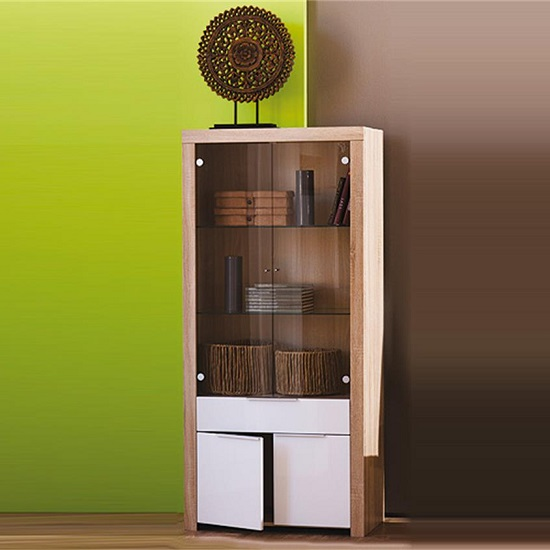 Comida Glass Display Cabinet In Brushed Oak And White Gloss