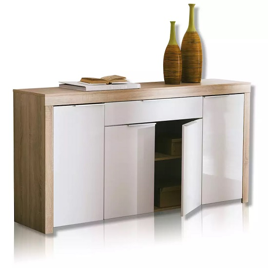 Comida Sideboard In Brushed Oak And White High Gloss Fronts_1