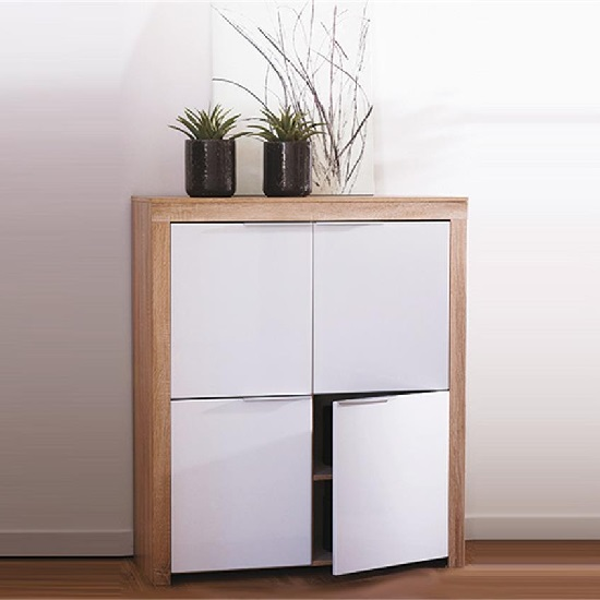 Comida Storage Cabinet In Brushed Oak And White Gloss Fronts