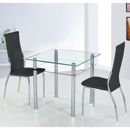 Como Glass Dining Table With 2 Black Pisa Dining Chairs