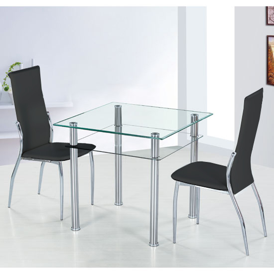 Elegant Como Glass Dining Table With 2 Black Pisa Dining Chairs