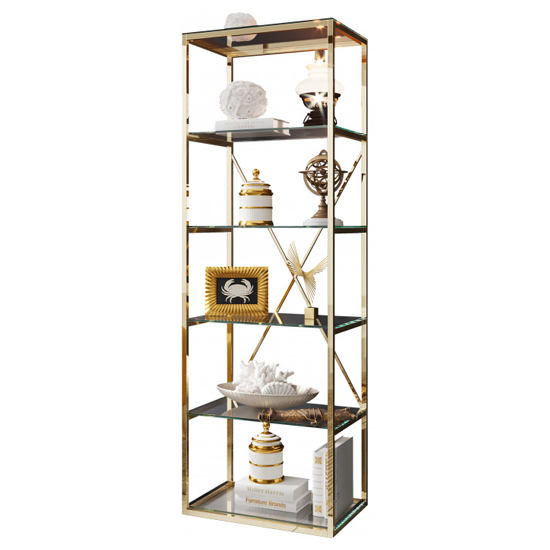 Como Clear Glass Display Stand In Gold Stainless Steel Frame_2