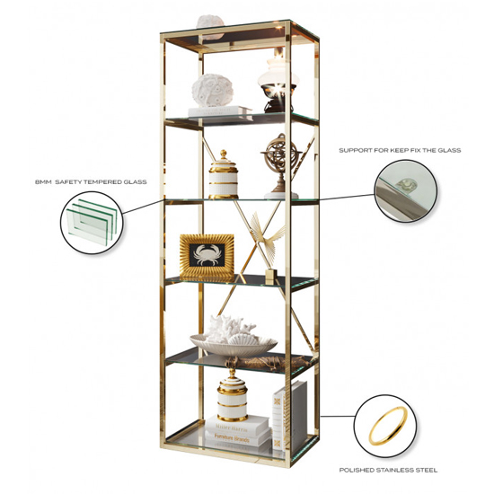 Como Clear Glass Display Stand In Gold Stainless Steel Frame_3