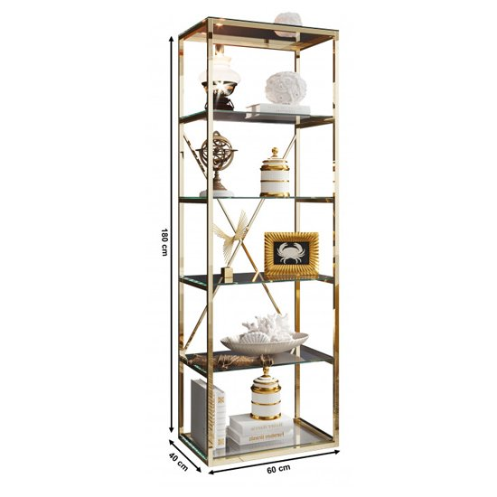 Como Clear Glass Display Stand In Gold Stainless Steel Frame_4