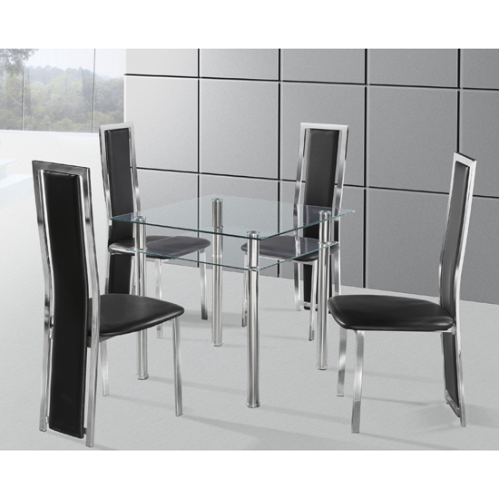 Callisto Glass Dining Table With 2 Black Deluxe Dining Chairs