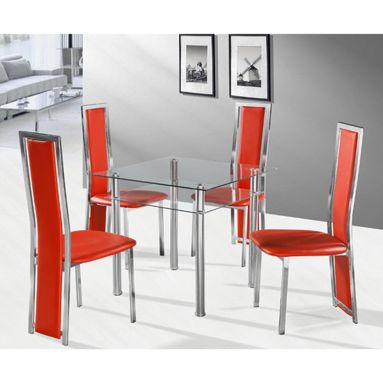 Callisto Clear Glass Dining Table and 4 Red Deluxe Dining Chairs