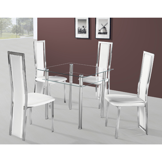 Callisto Dining Table In Clear Glass With 4 White Deluxe Chairs