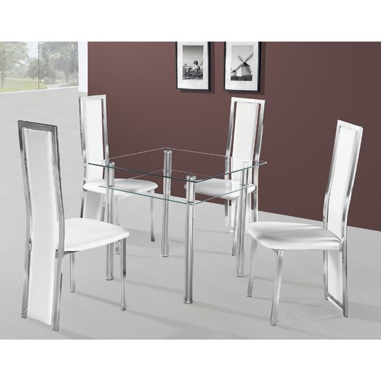 Callisto Glass Dining Table With 2 Deluxe Dining Chairs