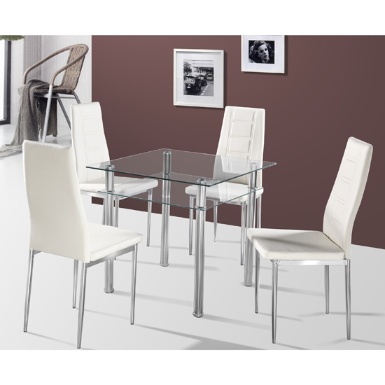 Callisto Glass Dining Table And 2 Cream Nova Dining Chairs