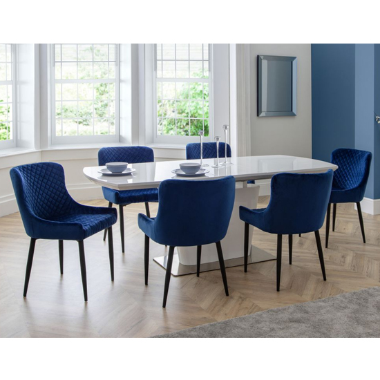 Como Extending Dining Set With 6 Luxe Blue Velvet Chairs