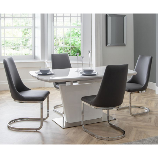 Como Grey Faux Leather Cantilever Dining Chair In Pair_3