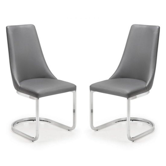 Como Grey Faux Leather Cantilever Dining Chair In Pair_1