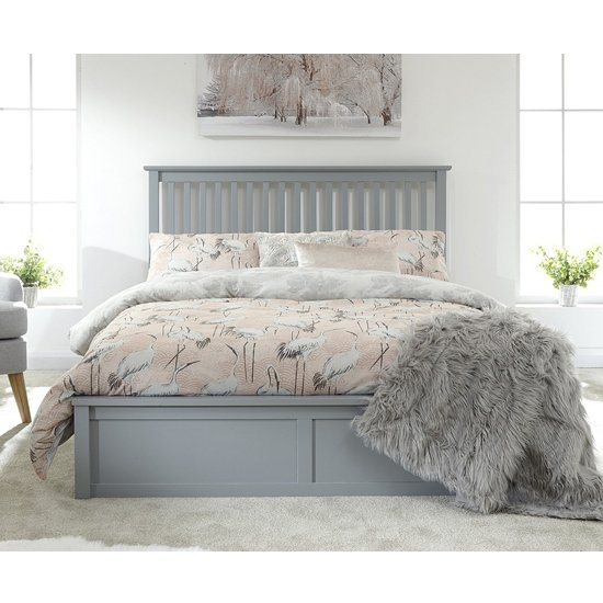 Como Wooden Ottoman Double Bed In Grey