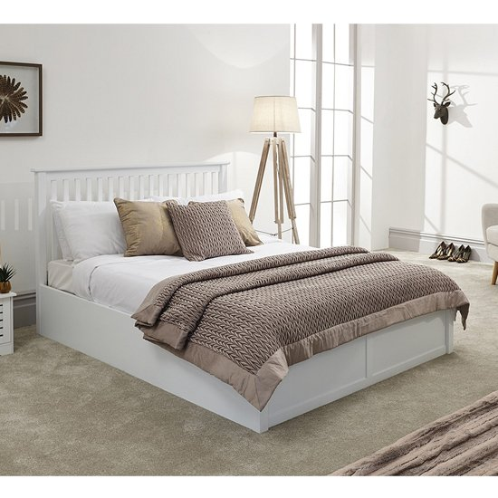 Como Wooden Ottoman Double Bed In White