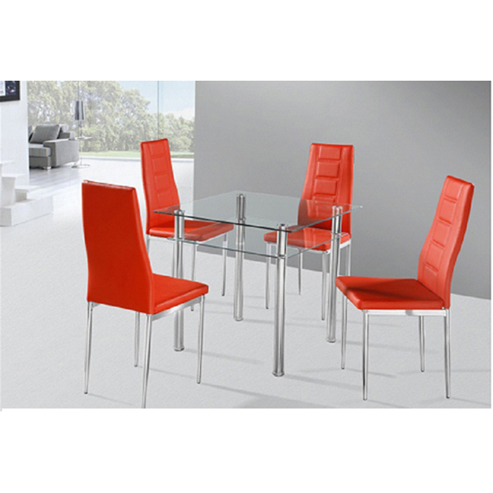 Callisto Dining Table In Black Glass With 4 Red Nova Chairs