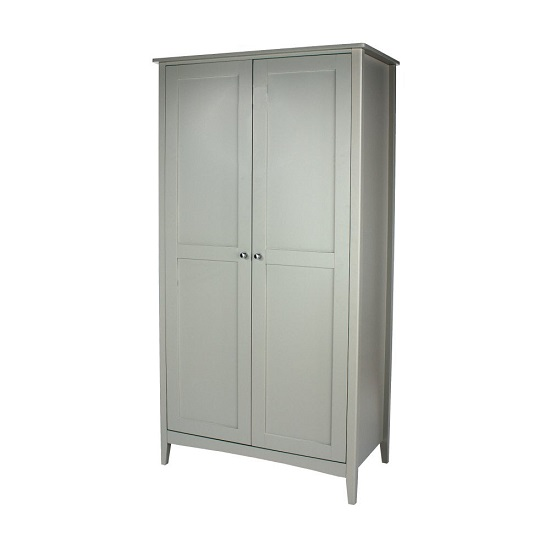 Comodo Wooden Wardrobe In Grey With Two Doors