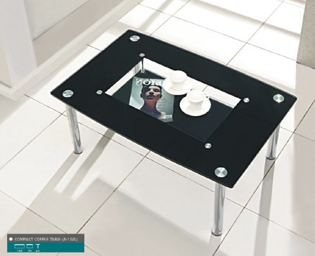 Christie Coffee Table In Clear Glass With Black Border