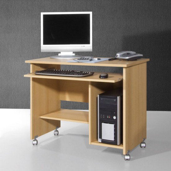 compact computer trolley in beech with rollers 4595. Black Bedroom Furniture Sets. Home Design Ideas