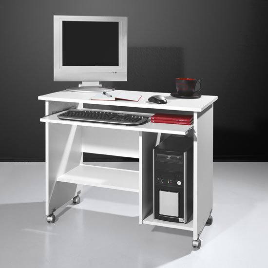 Compact Computer Trolley In White With Rollers 6211