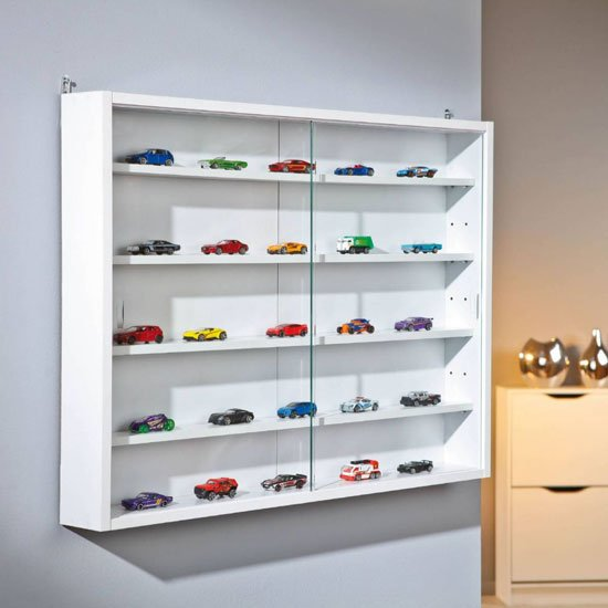 Compilati Fibre Wall Mounted Glass Display Cabinet In White