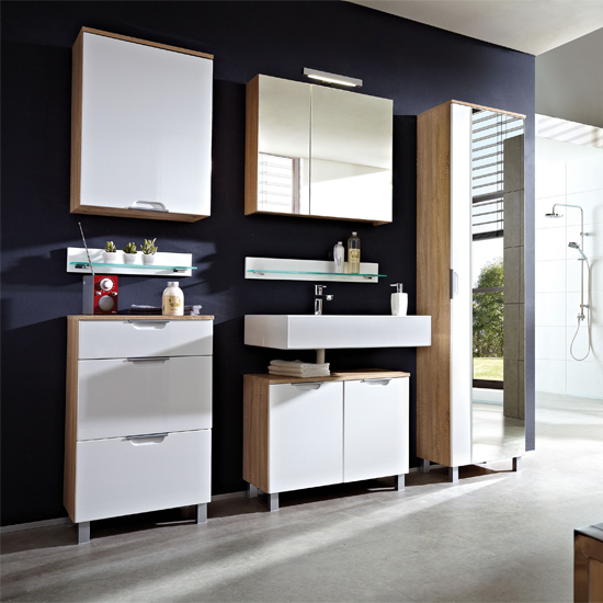 Santos Gloss White Bathroom Furniture In Canadian Oak 18298