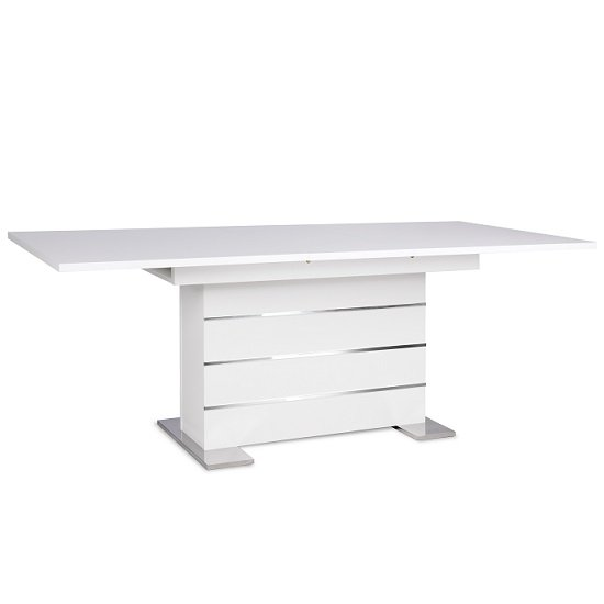 Compton Extendable Dining Table In White And Chrome Base_2