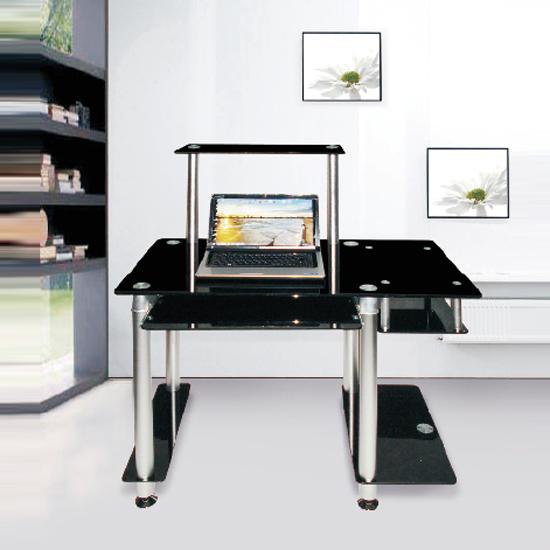 Computer Desk A02 Features: • A modern black glass computer desk