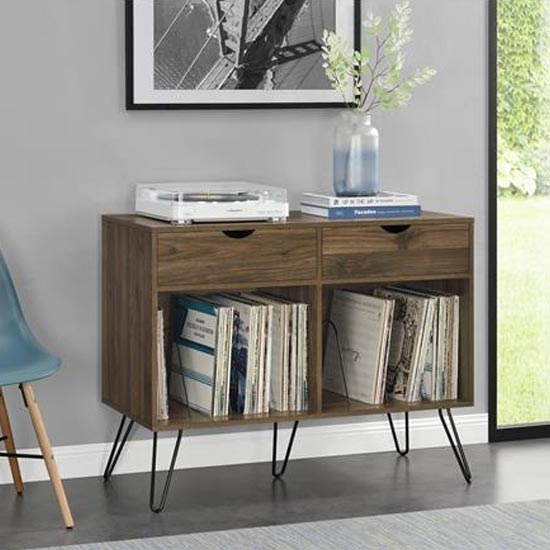 Concord Turntable Bookcase In Walnut With 2 Drawers_2
