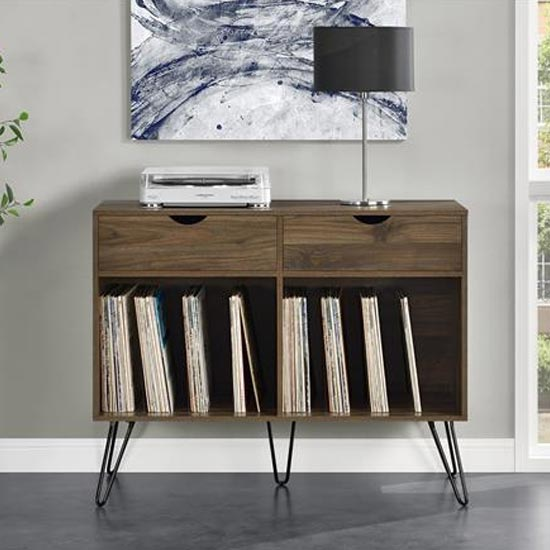 Concord Turntable Bookcase In Walnut With 2 Drawers_1