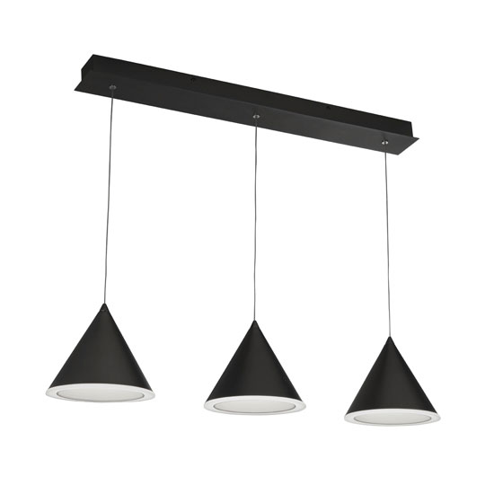 View Conical 3 led pendant light in black