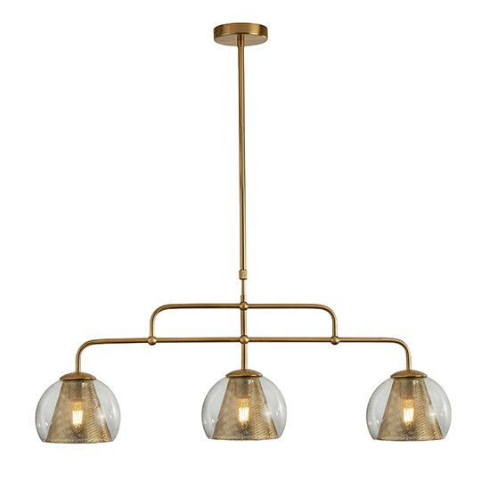 Conio 3 Lights Pendant Ceiling Light In Satin Brass