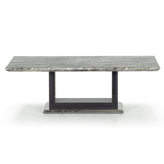 Connor Marble Coffee Table In Grey With High Gloss Base