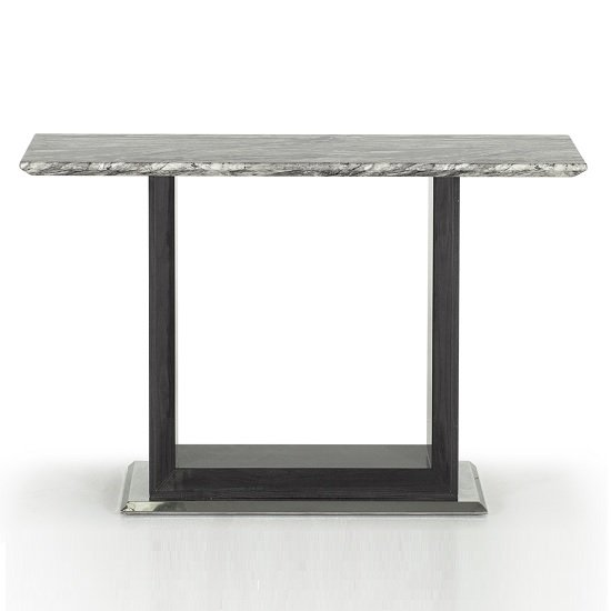 Connor Marble Console Table In Grey With High Gloss Base