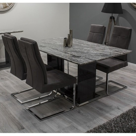Connor Marble Dining Table Small In Grey And Gloss With 4 Chairs