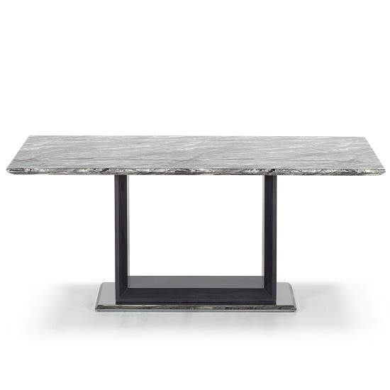 Connor Marble Dining Table In Grey With High Gloss Base
