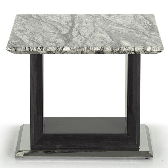 Connor Marble Lamp Table In Grey With High Gloss Base