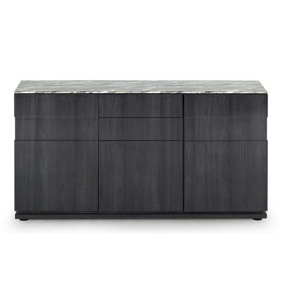 Connor Marble Top Sideboard In Grey With High Gloss Base