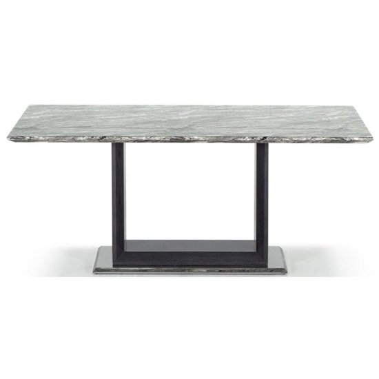 Connor Medium Marble Dining Table In Grey High Gloss