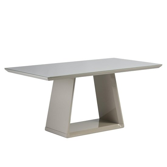 Conrad Glass Dining Table Rectangular In Latte And High Gloss
